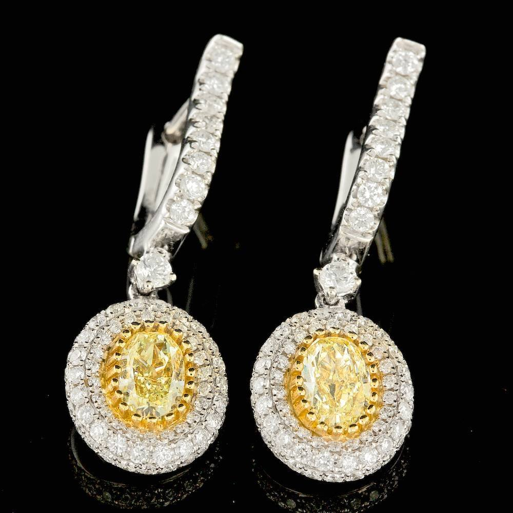 18k Multi-Tone Gold 2.25ct Diamond Earrings