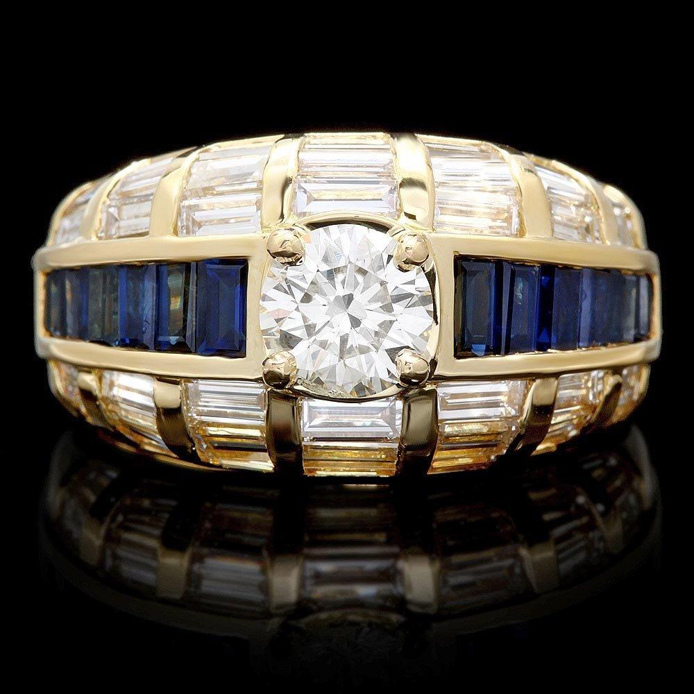 18k Gold 2.95ct Diamond 1.30ct Sapphire Ring