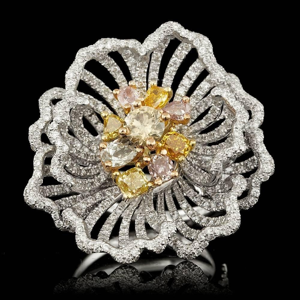 18k Multi-Tone Gold 4.23ct Diamond Ring