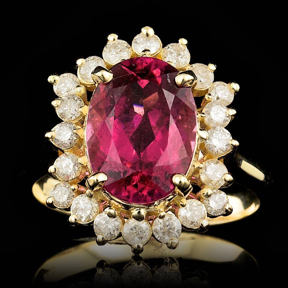 14k Gold 3.00ct Tourmaline 0.75ct Diamond Ring