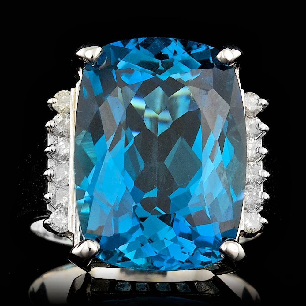 14k White Gold 17.50ct Topaz 0.30ct Diamond Ring