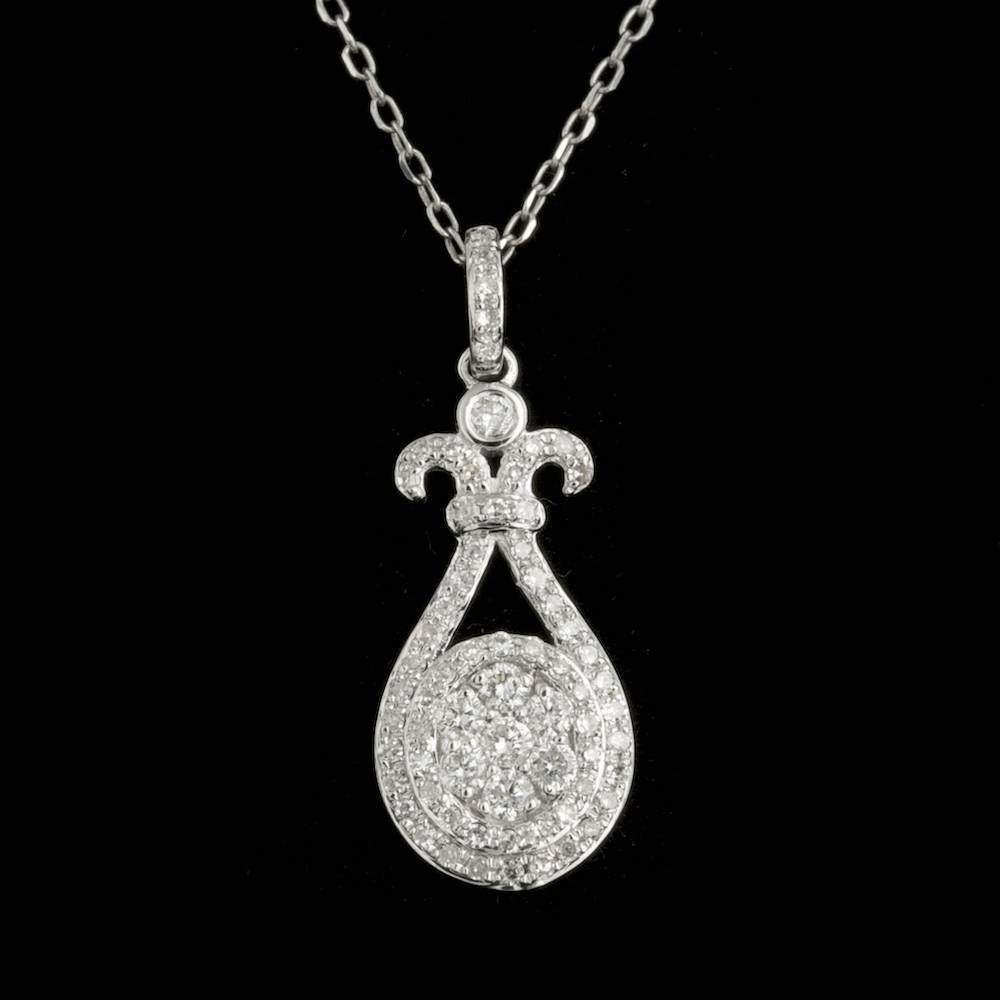 14k White Gold 0.40ct Diamond Pendant