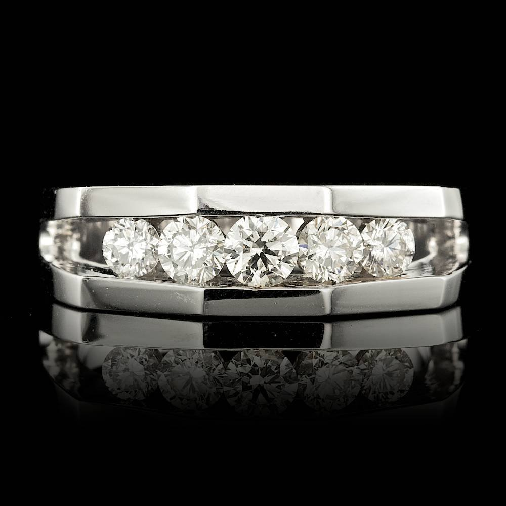 14k White Gold 1.00ct Diamond Mens Ring