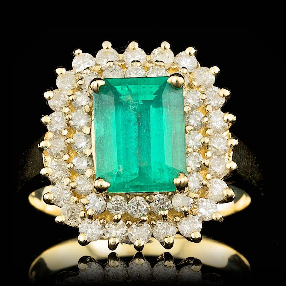 14k Gold 2.00ct Emerald 1.10ct Diamond Ring