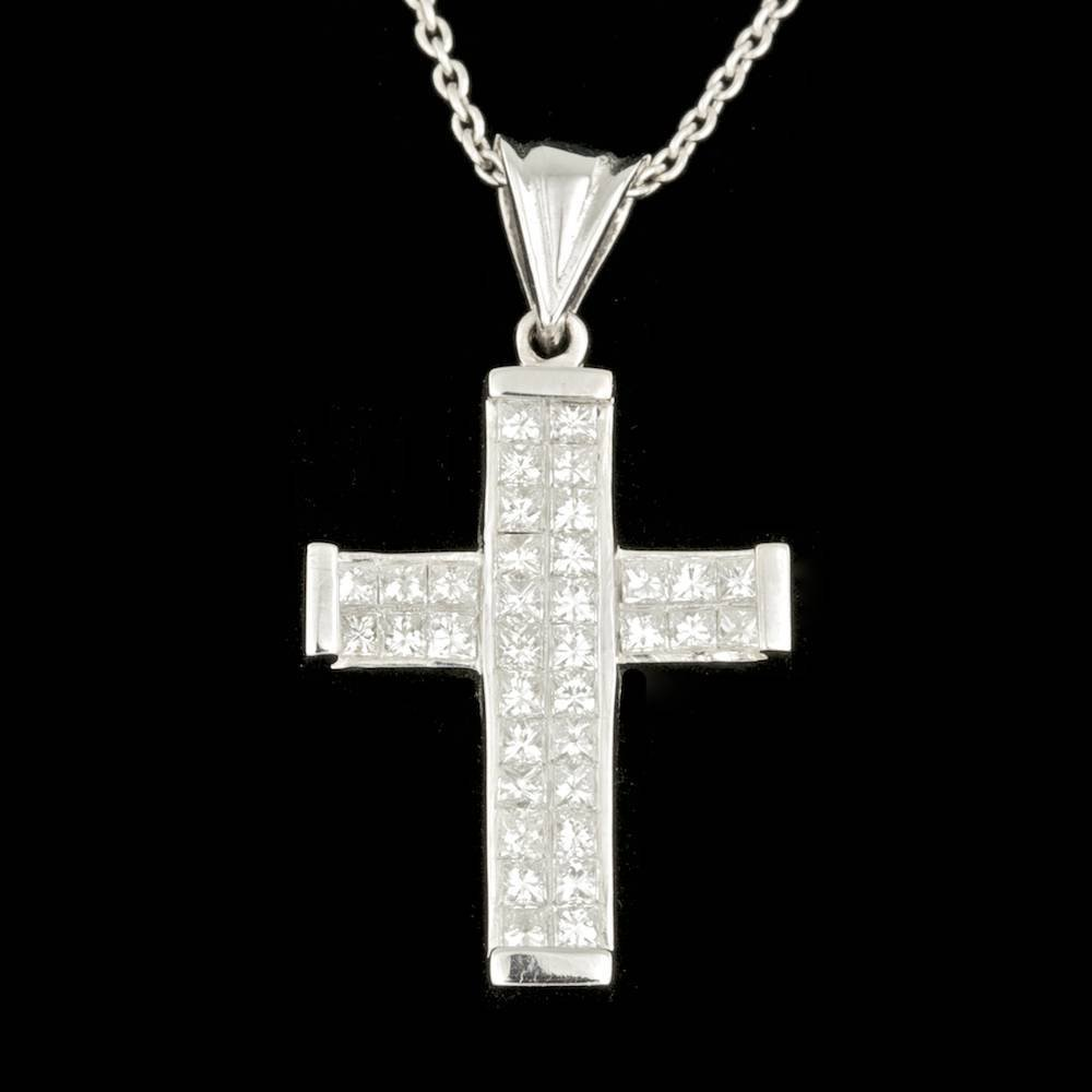 14k White Gold 1.80ct Diamond Pendant