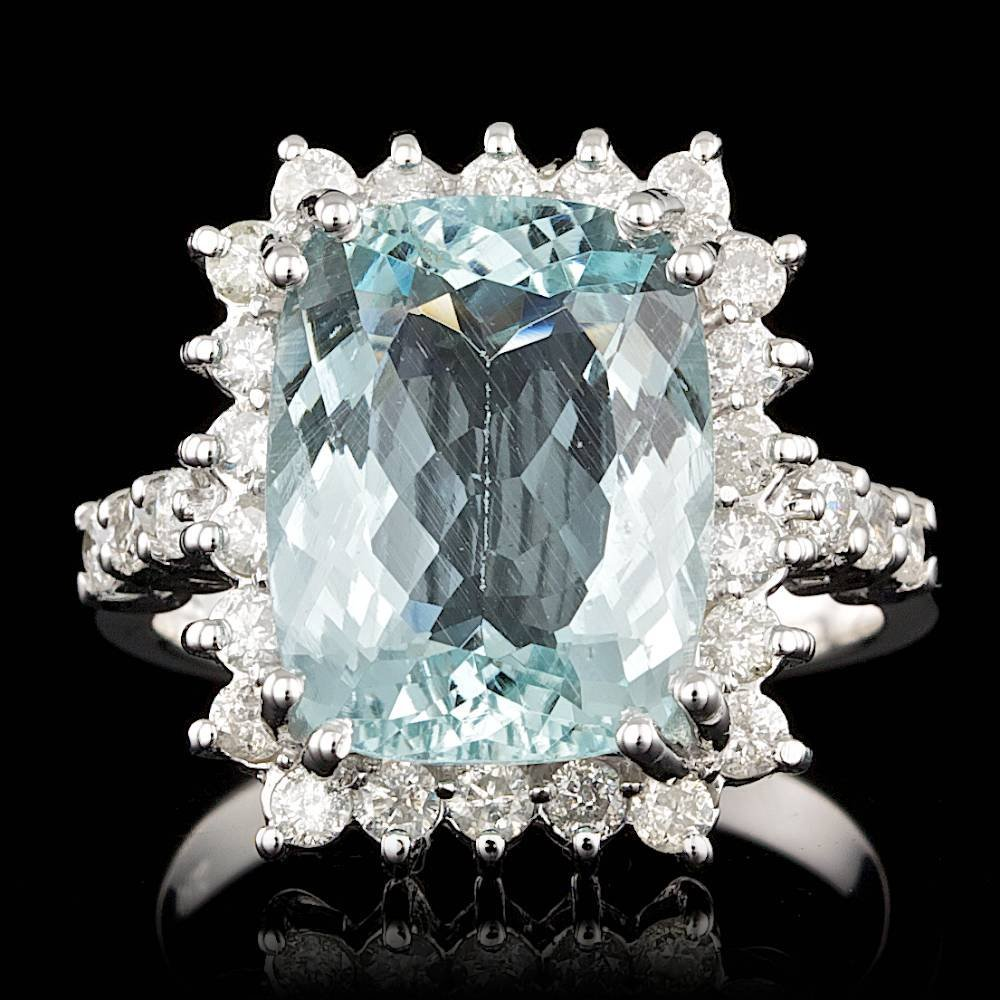 14k Gold 5.50ct Aquamarine 0.95ct Diamond Ring