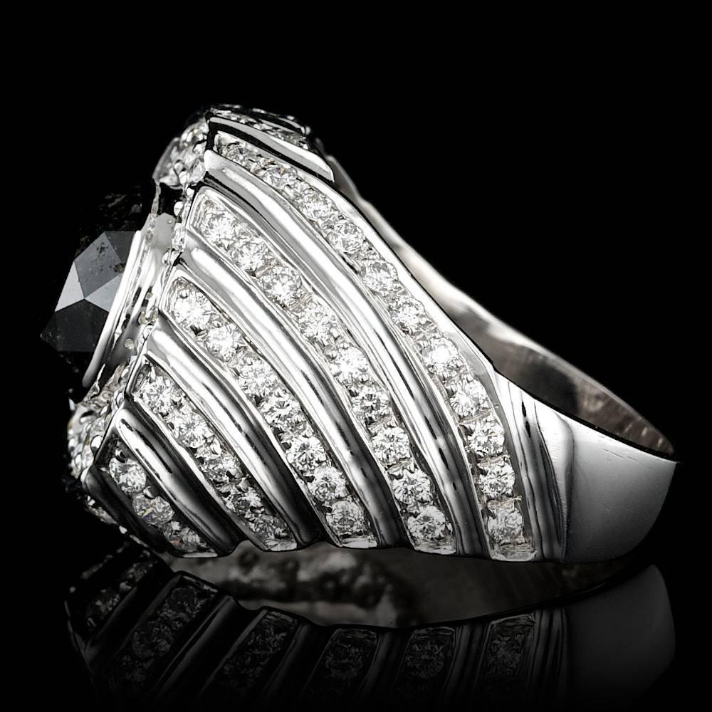 14k White Gold 6.3ct Diamond Mens Ring - 2