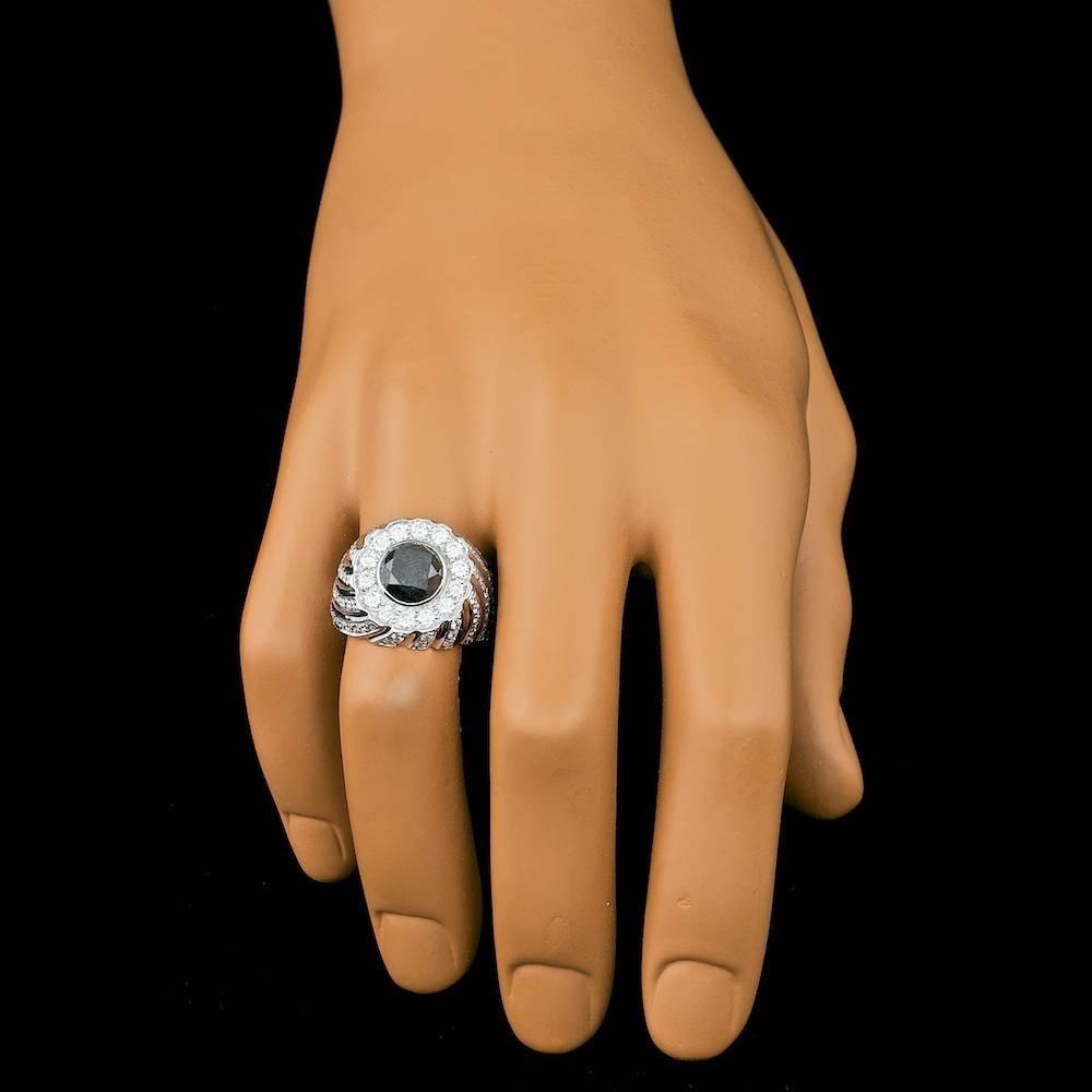 14k White Gold 6.3ct Diamond Mens Ring - 3