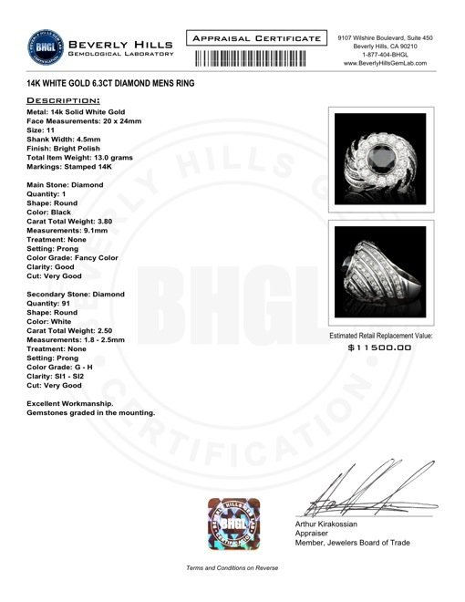 14k White Gold 6.3ct Diamond Mens Ring - 5