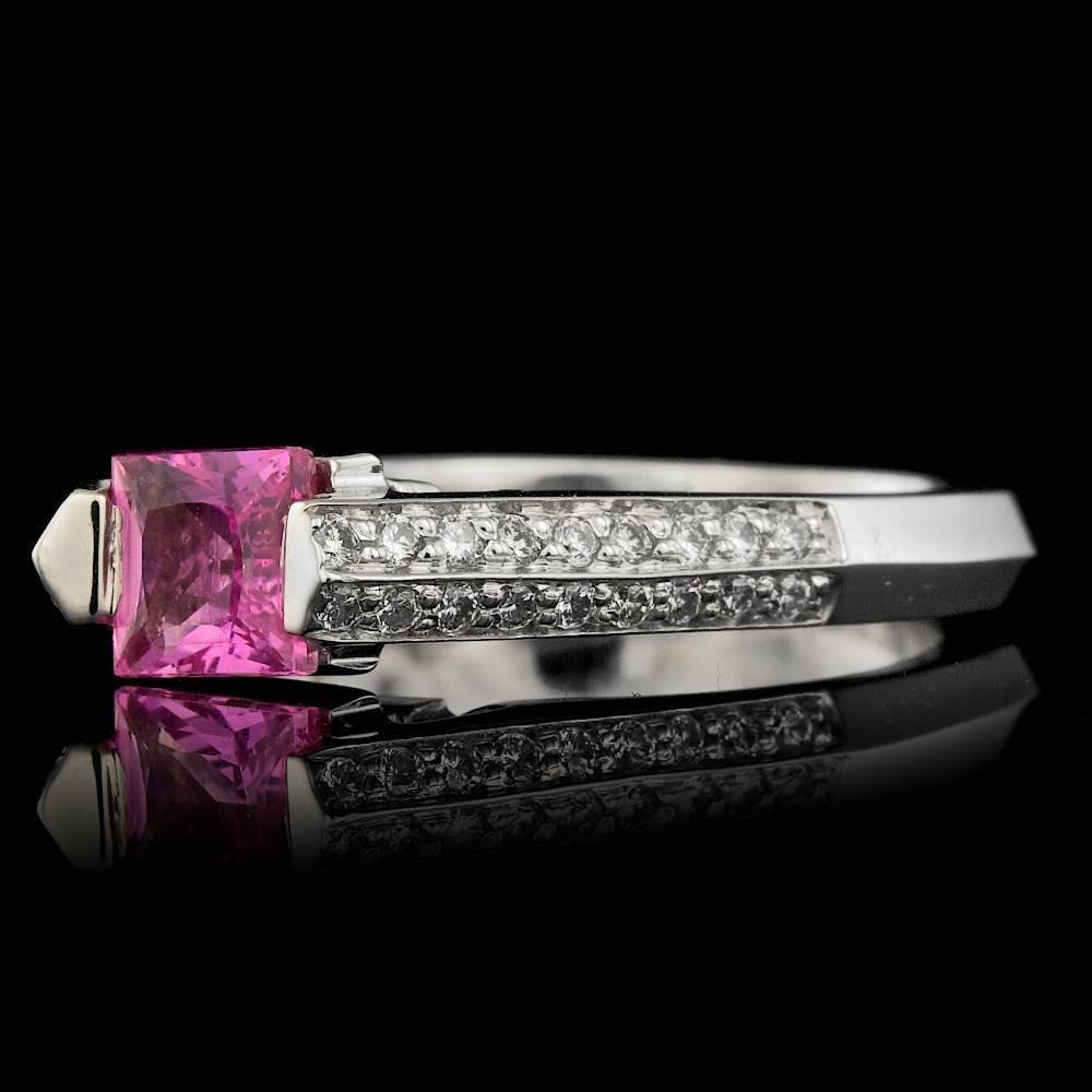 14k Gold 1.00ct Sapphire 0.30ct Diamond Ring - 3