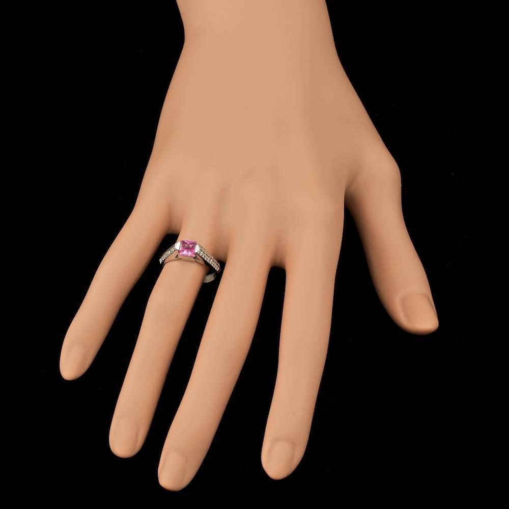 14k Gold 1.00ct Sapphire 0.30ct Diamond Ring - 4