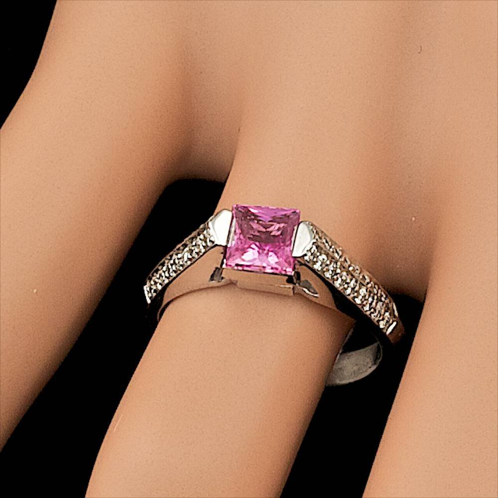 14k Gold 1.00ct Sapphire 0.30ct Diamond Ring - 5