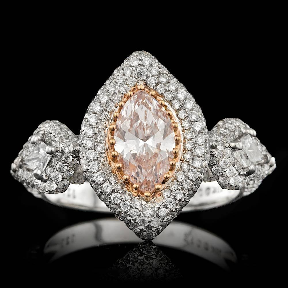 18k Gold 0.96ct Pink 1.45ctw Diamond Ring - 2