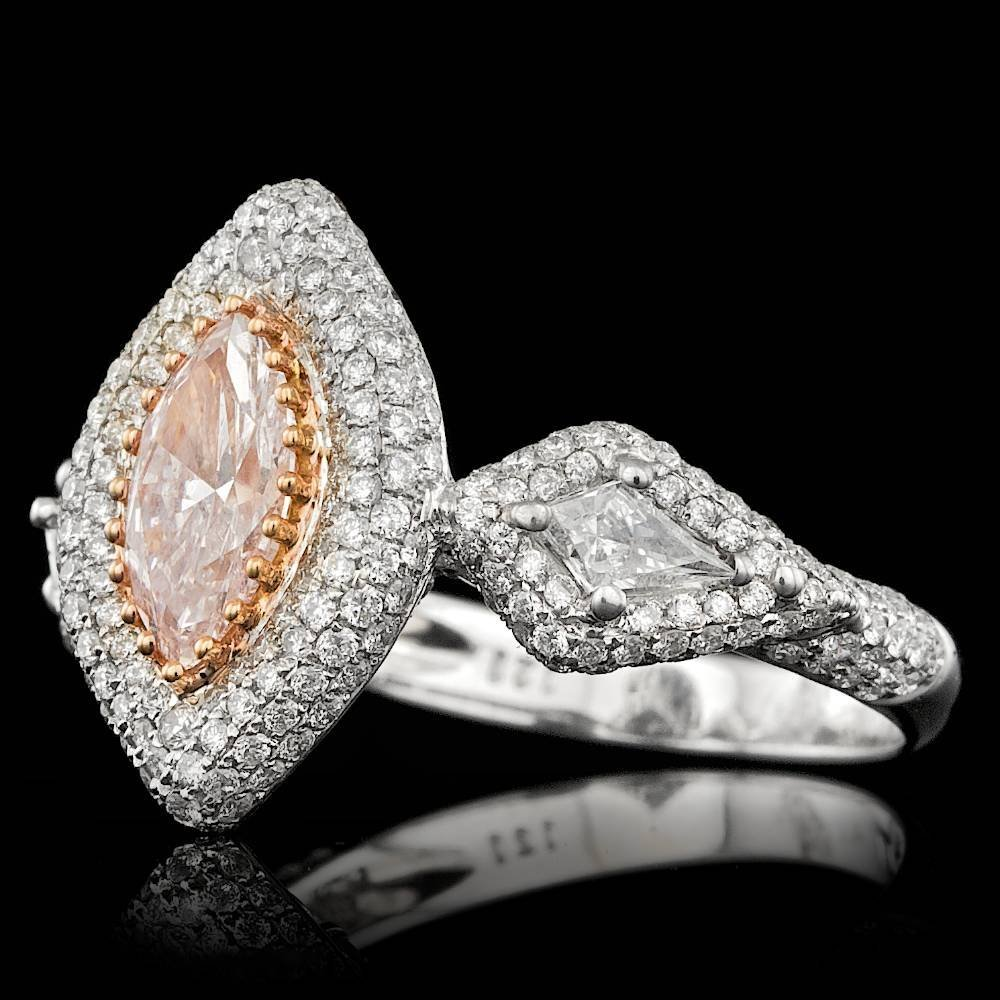 18k Gold 0.96ct Pink 1.45ctw Diamond Ring - 3
