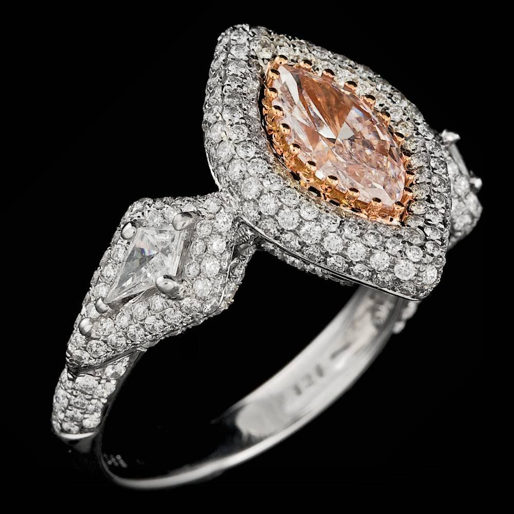 18k Gold 0.96ct Pink 1.45ctw Diamond Ring - 6