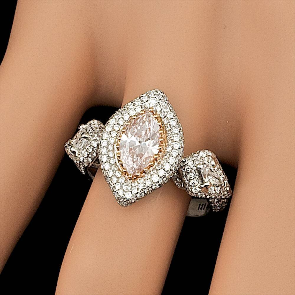 18k Gold 0.96ct Pink 1.45ctw Diamond Ring - 8