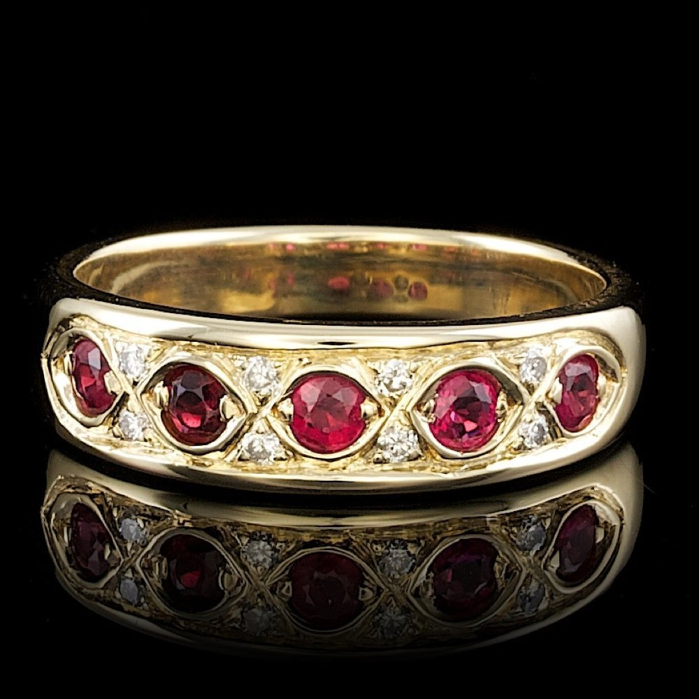 14k Yellow Gold 0.50ct Ruby 0.12ct Diamond Ring