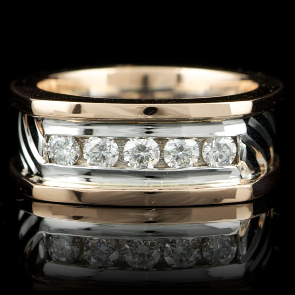 14k Multi-Tone Gold 0.75ct Diamond Mens Ring