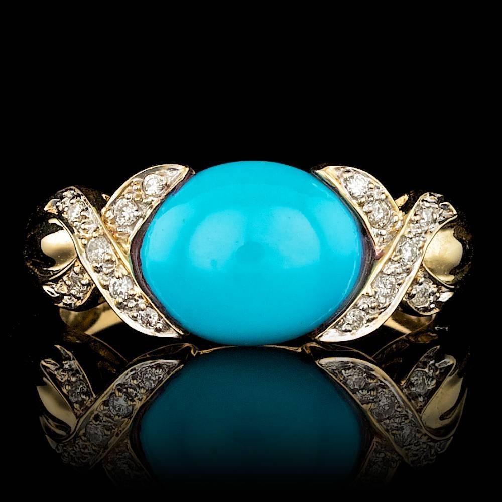 14k Gold 3.00ct Turquoise 0.25ct Diamond Ring