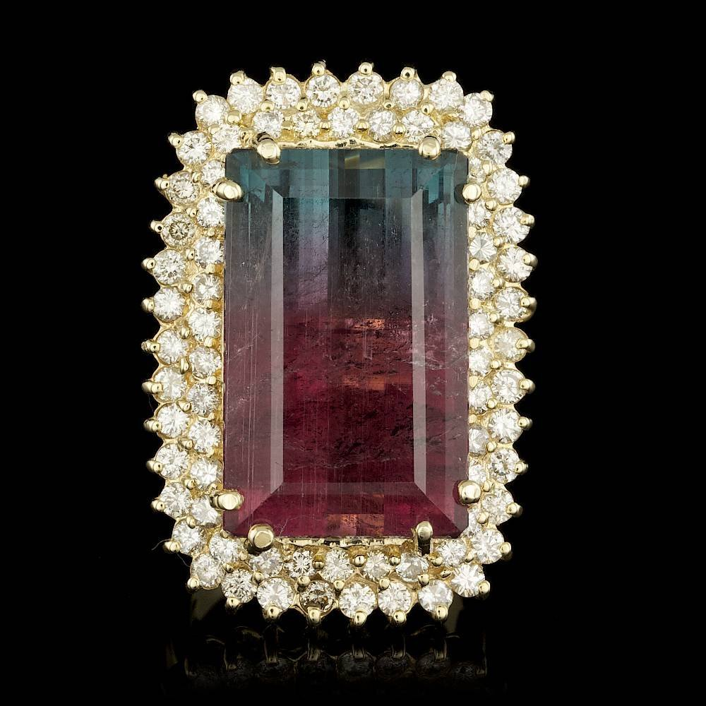 14k Gold 30.25ct Tourmaline 1.85ct Diamond Ring