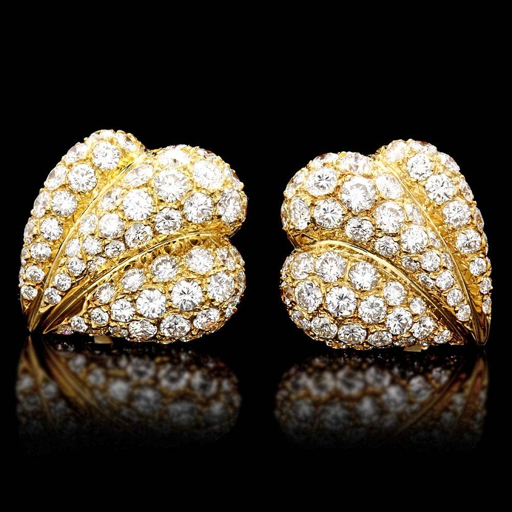 18k Gold 7.30ct Diamond Clip-On Pave Earrings