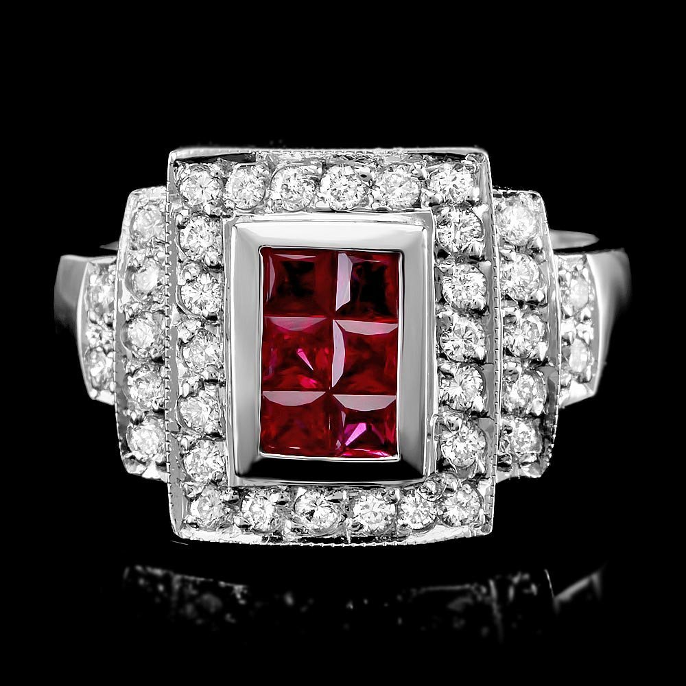 18k White Gold 0.50ct Ruby 0.70ct Diamond Ring