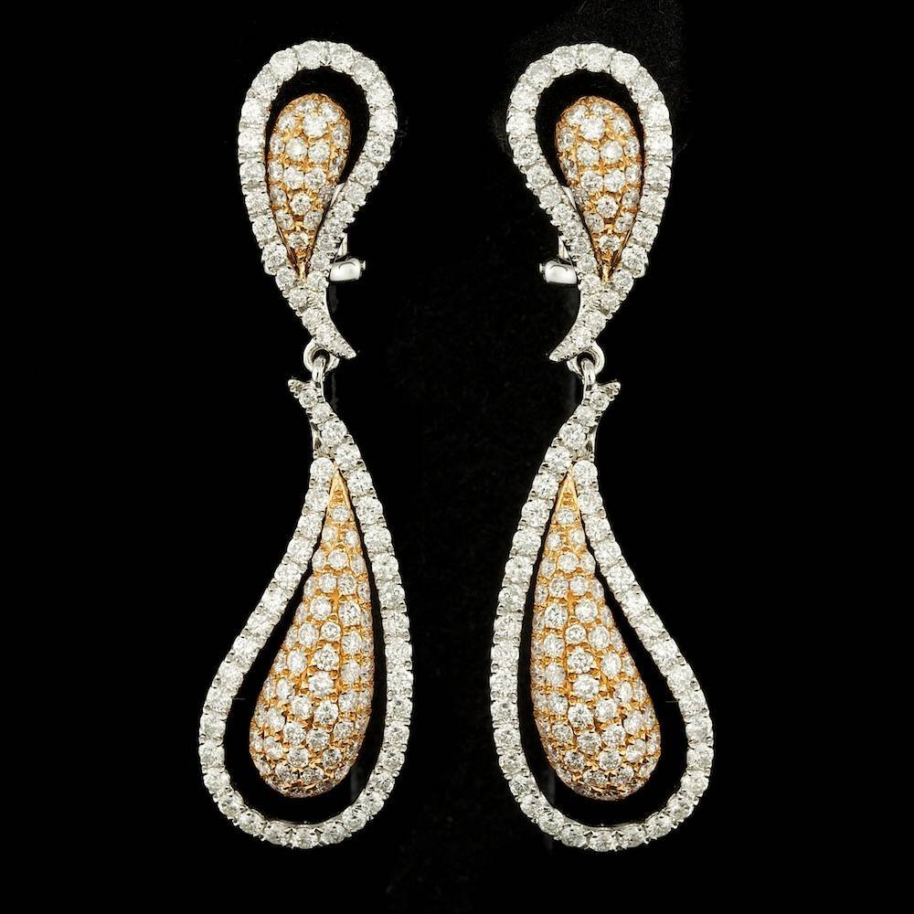 18k Multi-Tone Gold 3.00ct Diamond Earrings
