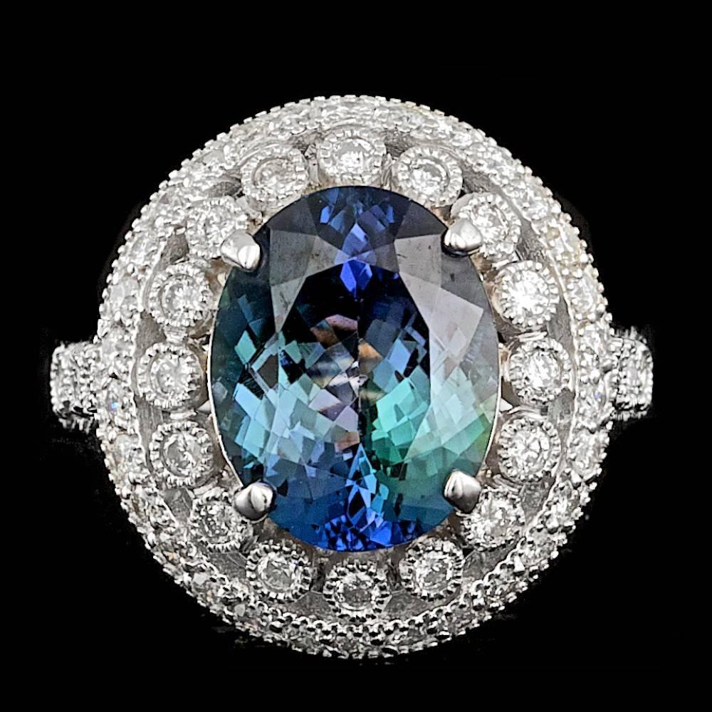 14k Gold 4.50ct Tanzanite 0.80ct Diamond Ring
