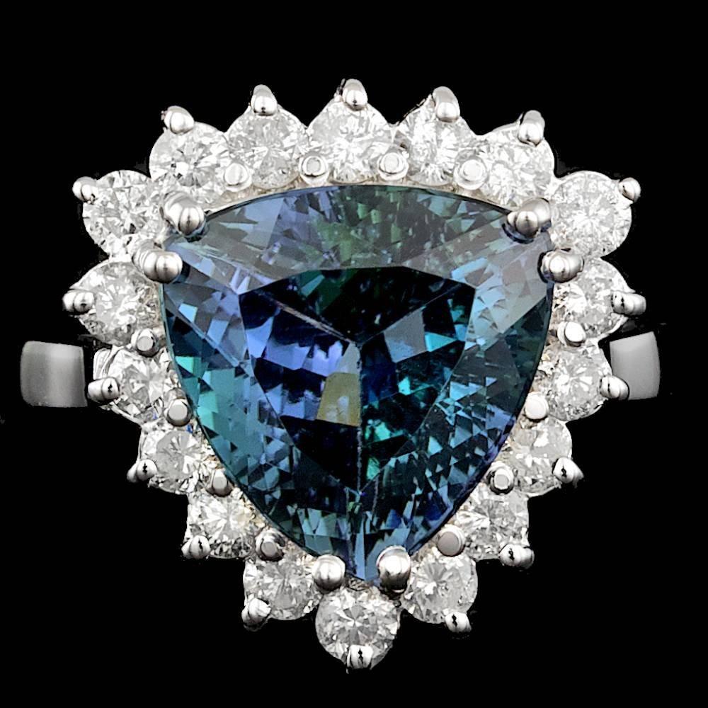 14k Gold 5.00ct Tanzanite 0.95ct Diamond Ring
