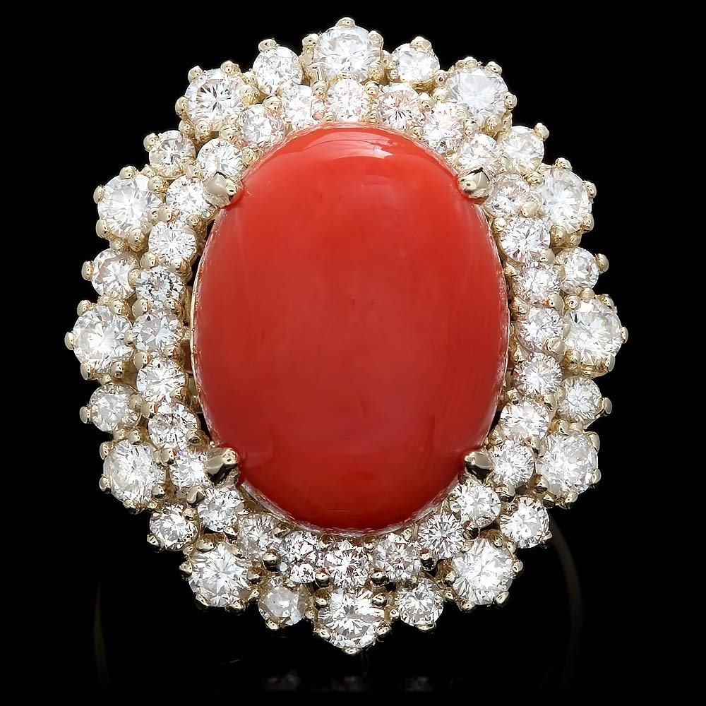 14k Yellow Gold 8.50ct Coral 1.90ct Diamond Ring