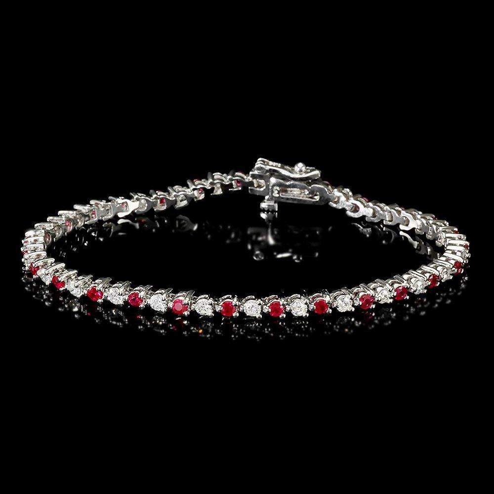 14k Gold 1.65ct Ruby 1.25ct Diamond Bracelet