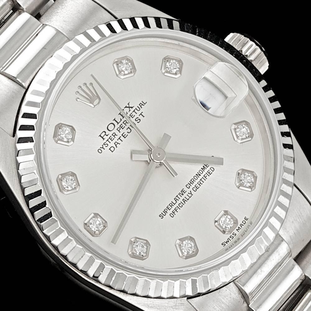Rolex 18k White Gold F/Vvs Diamond Datejust Watch