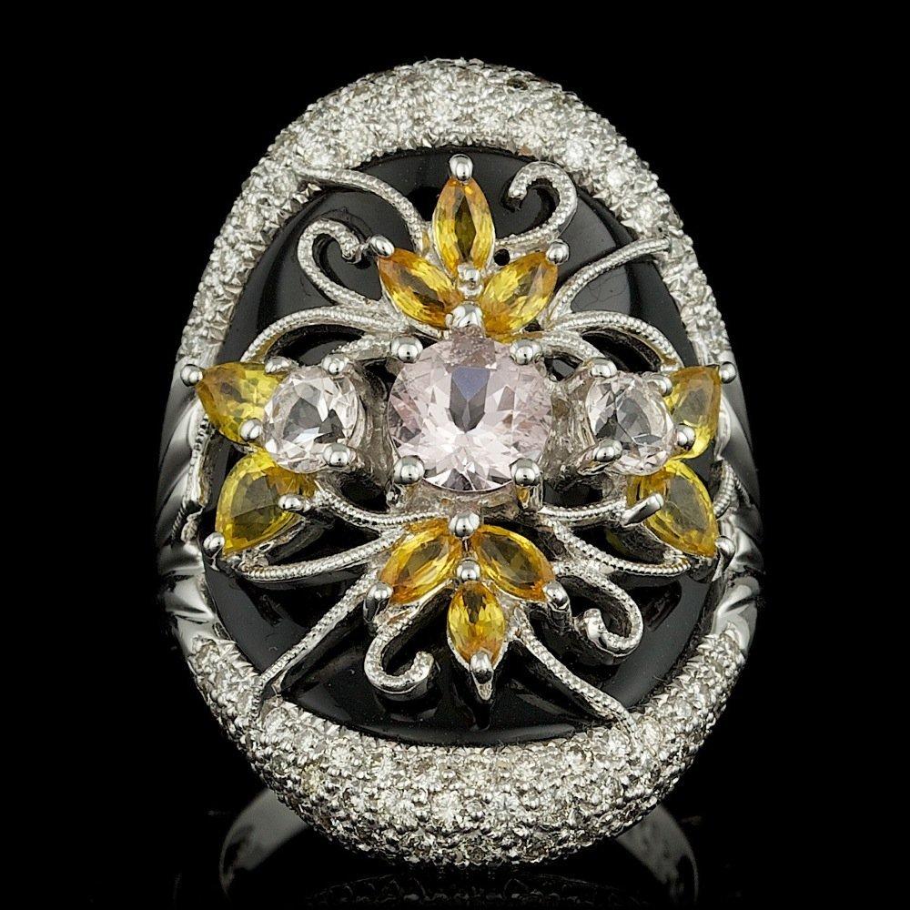 18k Gold 1.30ct Morganite 1.60ct Sapphire Ring