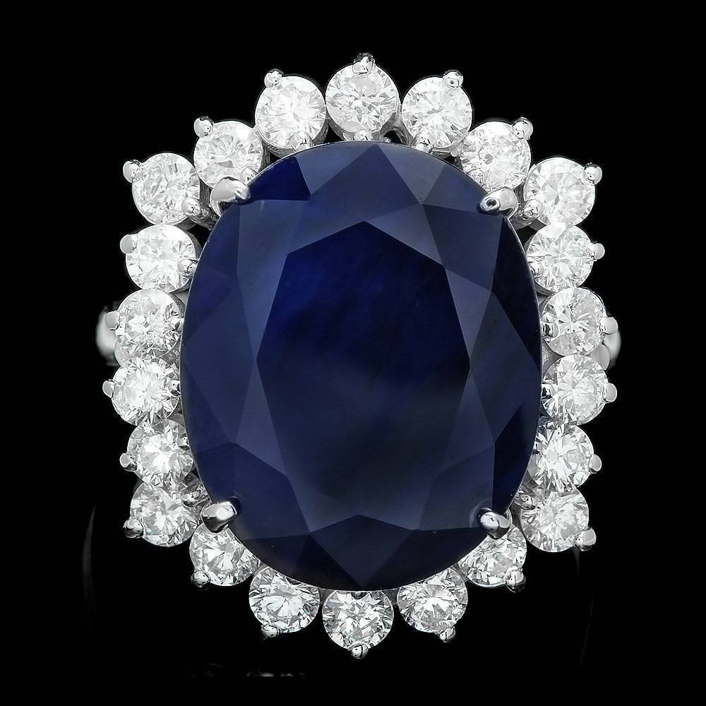 14k Gold 13.35ct Sapphire 1.45ct Diamond Ring