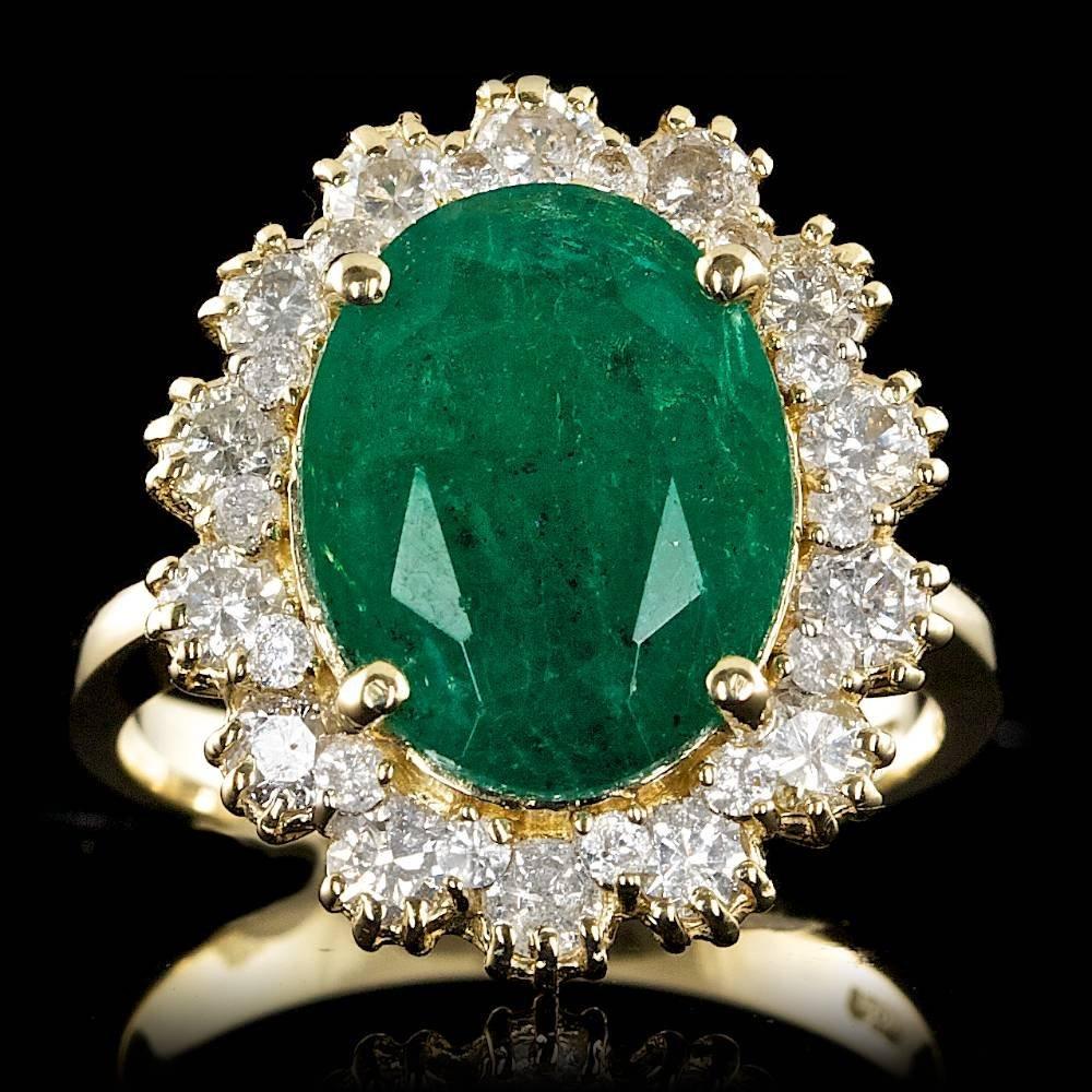 14k Gold 4.50ct Emerald 1.15ct Diamond Ring