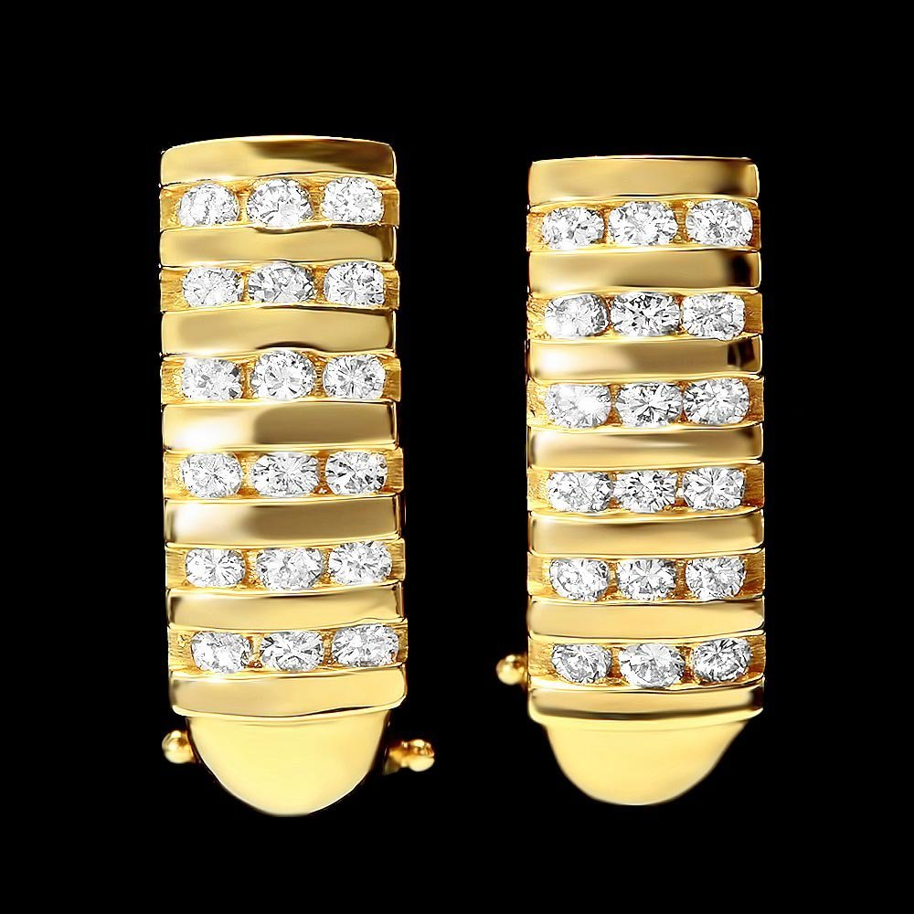 14k Yellow Gold 0.75ct Diamond Earrings