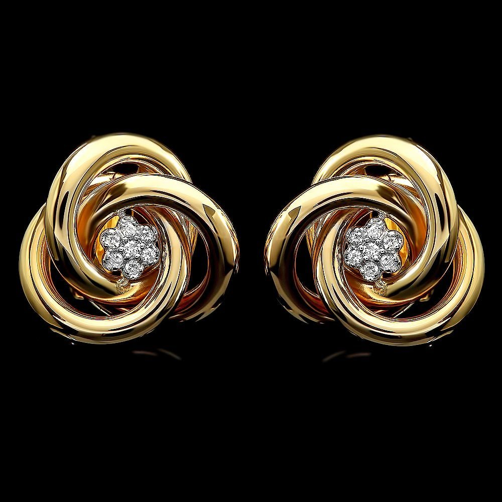 14k Yellow Gold 0.20ct Diamond Earrings
