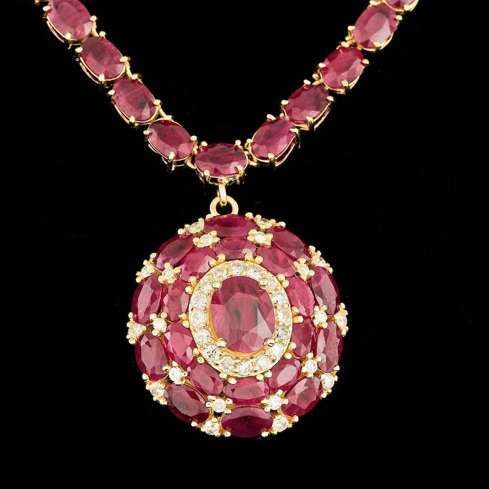 14k Yellow Gold 55ct Ruby 1.00ct Diamond Necklace