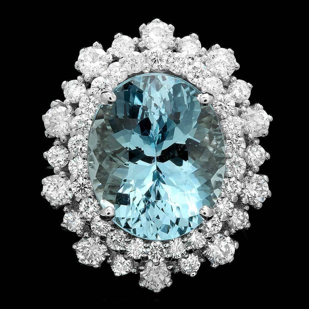 14k Gold 7.00ct Aquamarine 1.70ct Diamond Ring