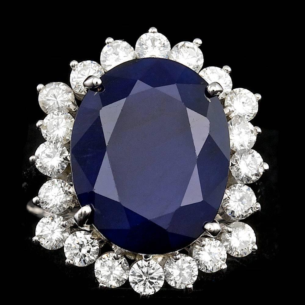 14k Gold 11.00ct Sapphire 1.50ct Diamond Ring