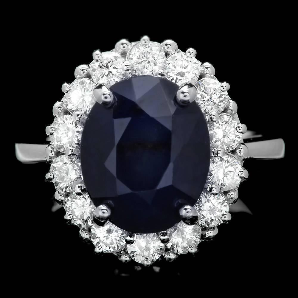 14k Gold 5.00ct Sapphire 1.05ct Diamond Ring