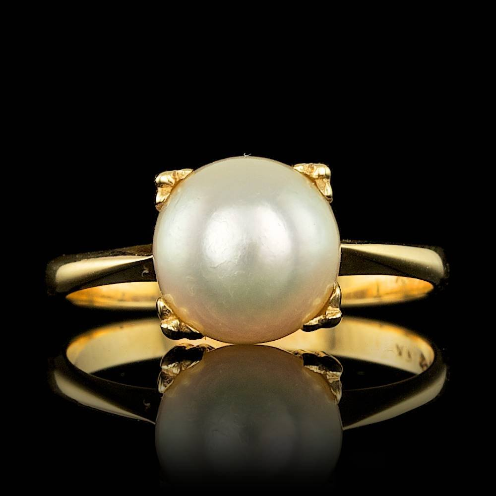 14k Yellow Gold 8mm Pearl Ring