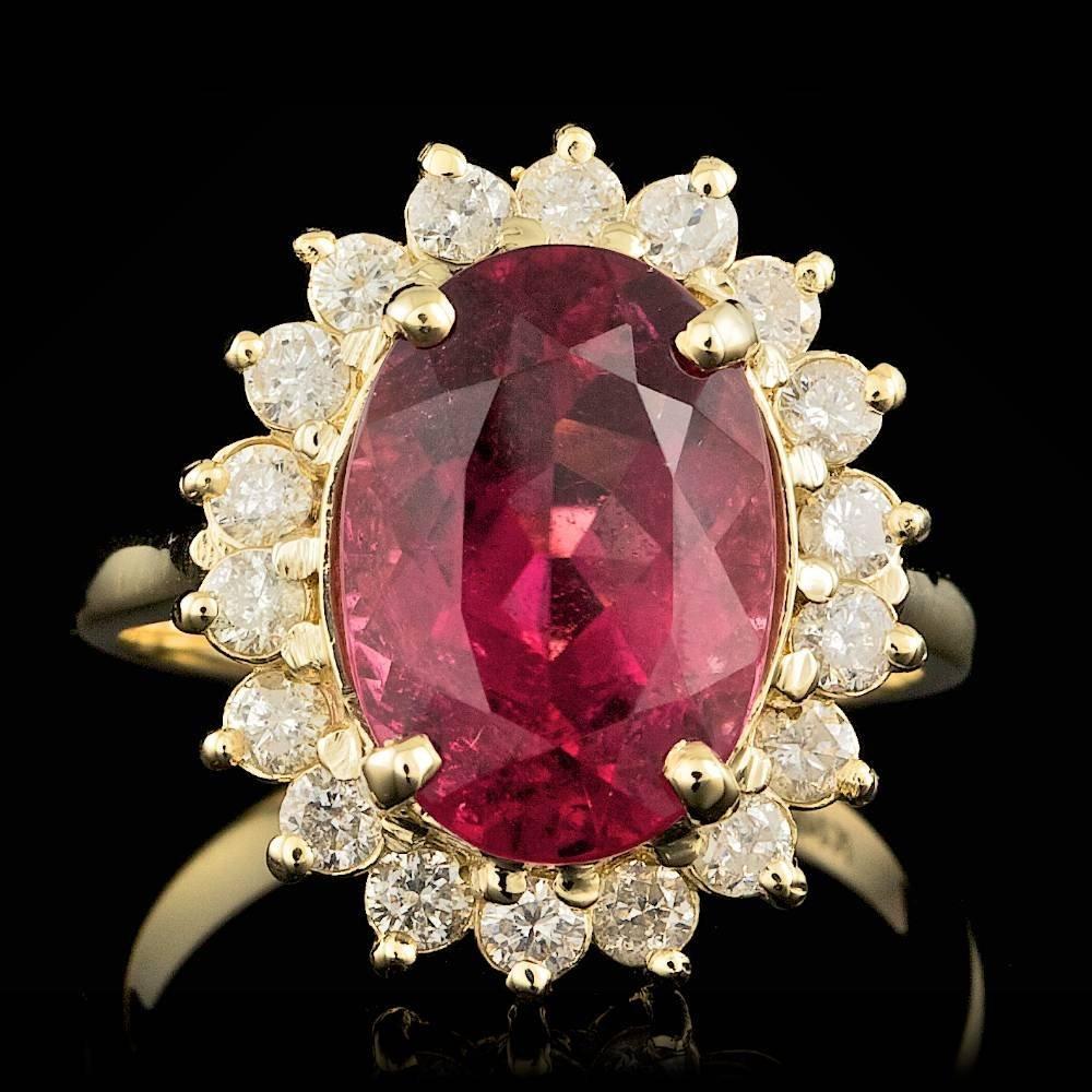 14k Gold 4.50ct Rubellite 0.70ct Diamond Ring