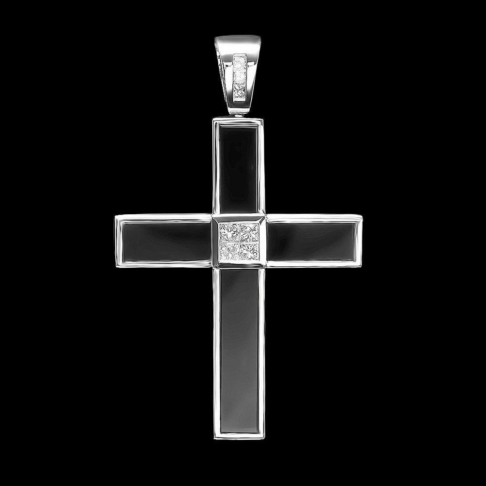 18k White Gold 1.3ct Diamond Onyx Mens Pendant