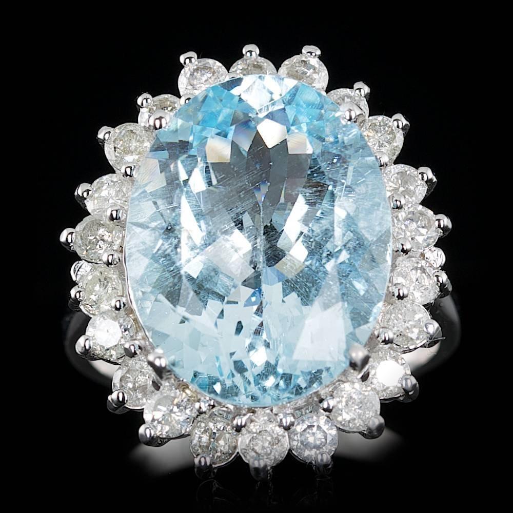 14k Gold 8.50ct Aquamarine 1.Ct Diamond Ring