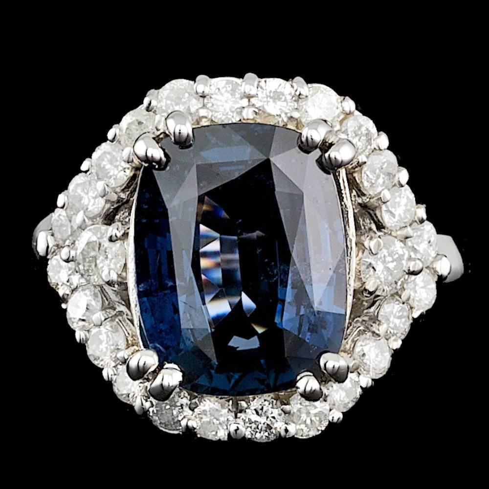14k White Gold 6.50ct Spinel 0.55ct Diamond Ring