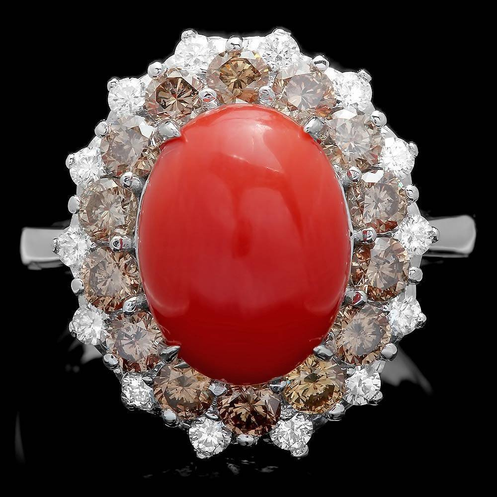14k White Gold 5.00ct Coral 1.6ct Diamond Ring