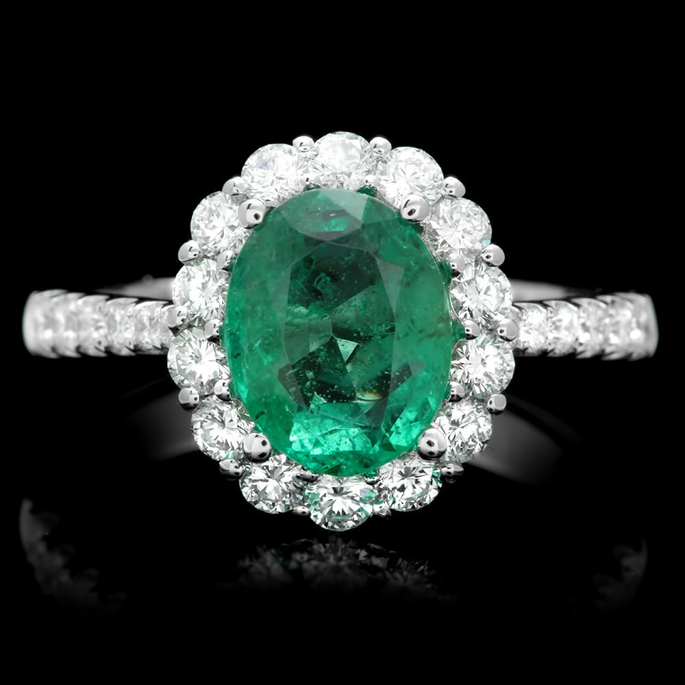 14k White Gold 3.00ct Emerald 0.50ct Diamond Ring