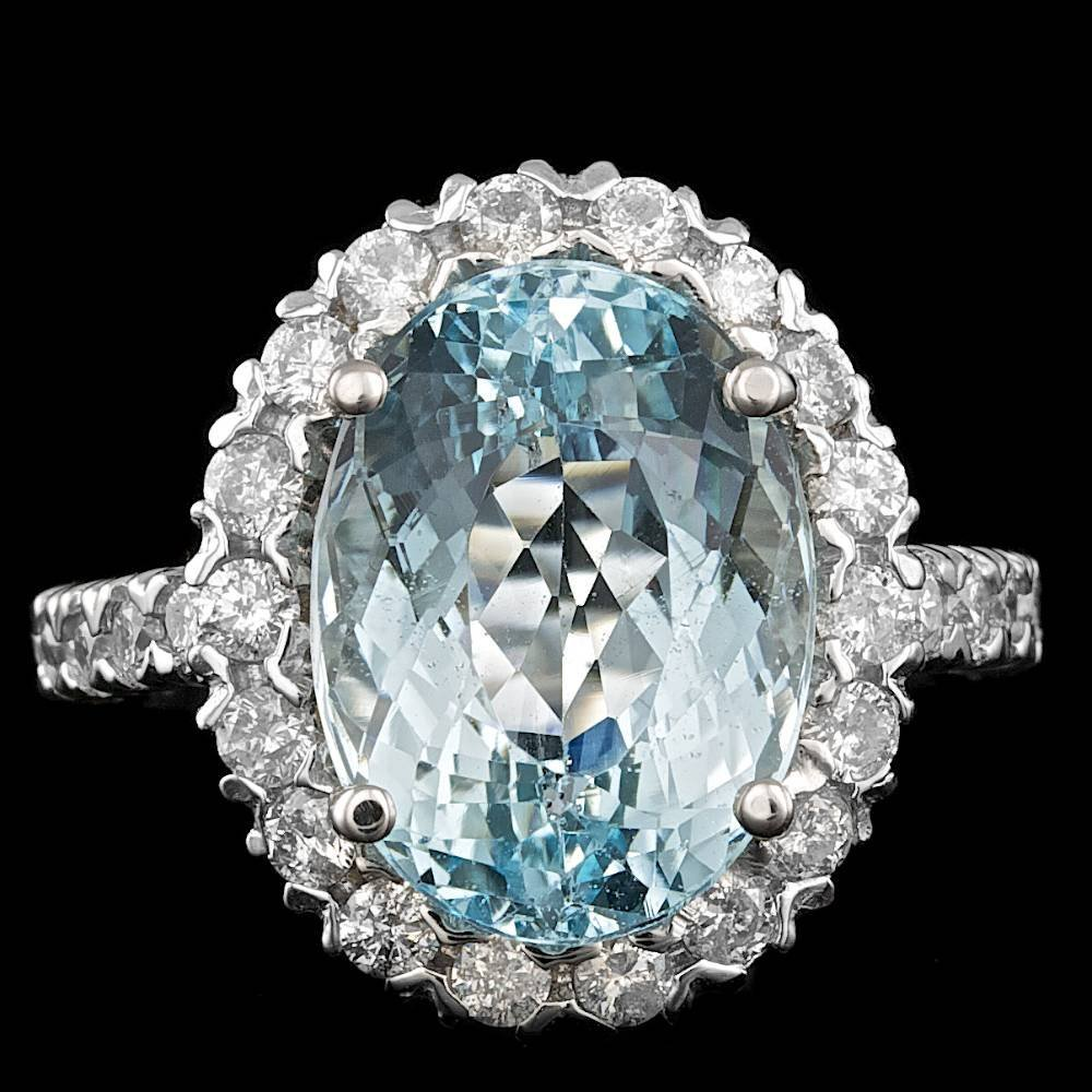 14k Gold 8.50ct Aquamarine 1.20ct Diamond Ring