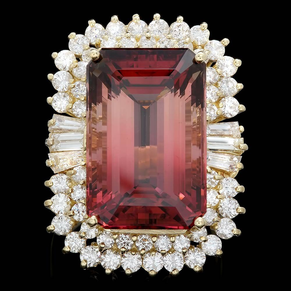 18k Gold 25.50ct Tourmaline 3.3ct Diamond Ring